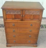 SOLD -Oak Carved Tallboy Chest by Maple & Co